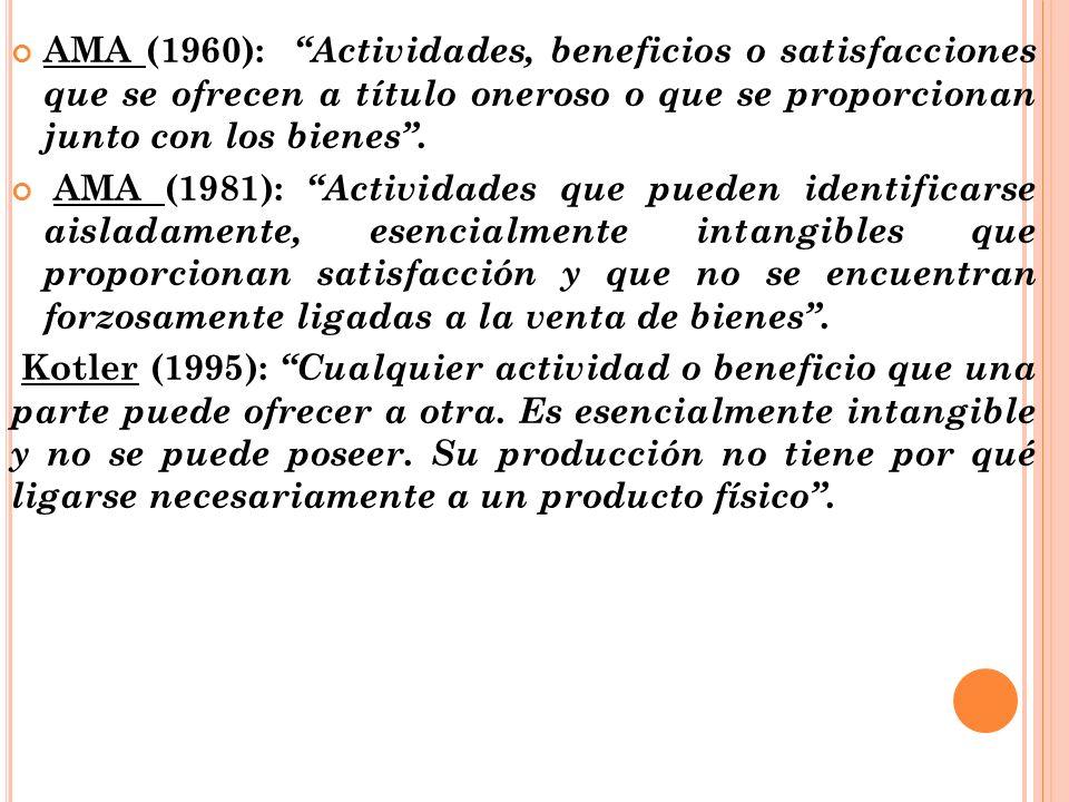 AMA (1960): Actividades, beneficios o satisfacciones que se ofrecen a título oneroso o que se proporcionan junto con los bienes. AMA (1981): Actividad
