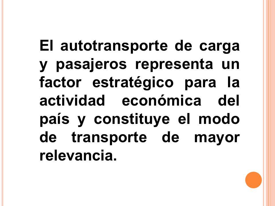 El autotransporte de carga y pasajeros representa un factor estratégico para la actividad económica del país y constituye el modo de transporte de may