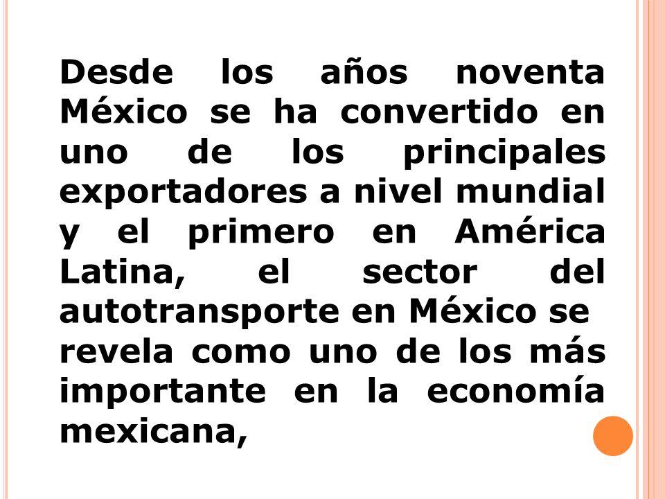 Desde los años noventa México se ha convertido en uno de los principales exportadores a nivel mundial y el primero en América Latina, el sector del au