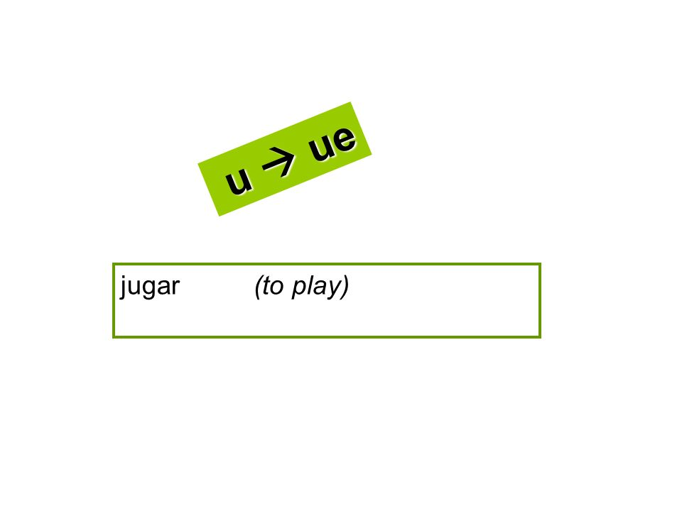 jugar (to play) u ue u ue