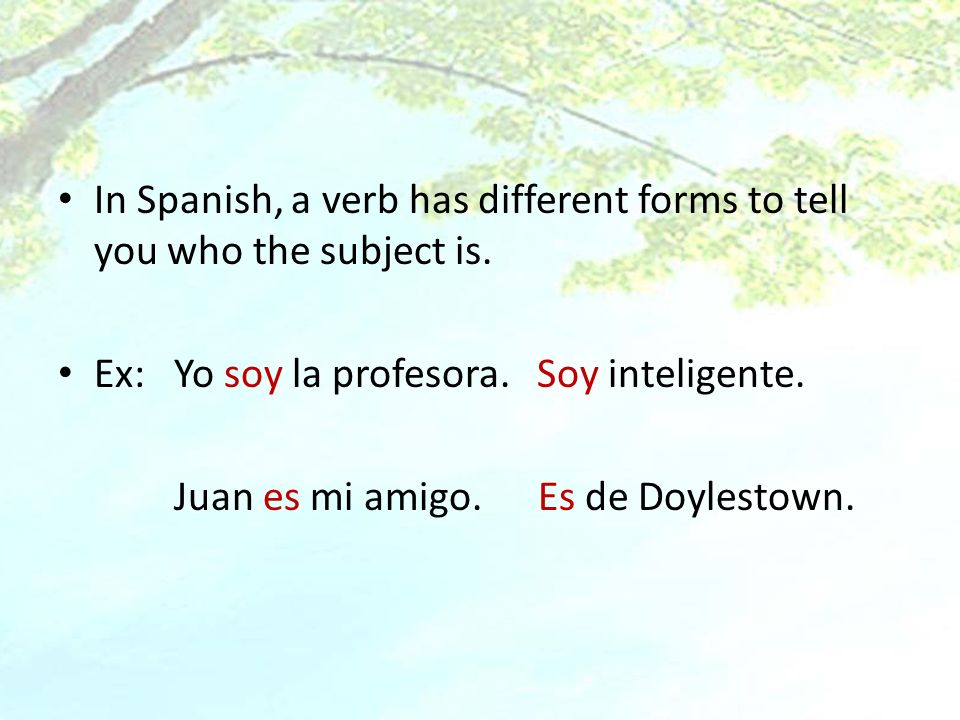 In Spanish, a verb has different forms to tell you who the subject is. Ex: Yo soy la profesora. Soy inteligente. Juan es mi amigo.Es de Doylestown.