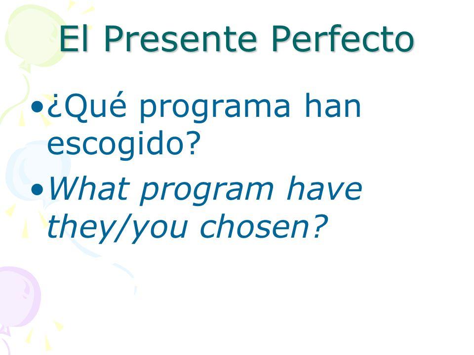 El Presente Perfecto No he alquilado un video hoy. I havent rented a video today.