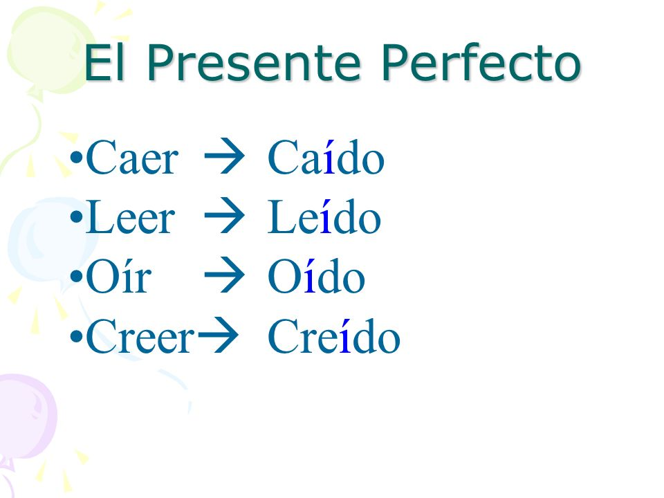 El Presente Perfecto Like everything in a foreign language, there will be exceptions.