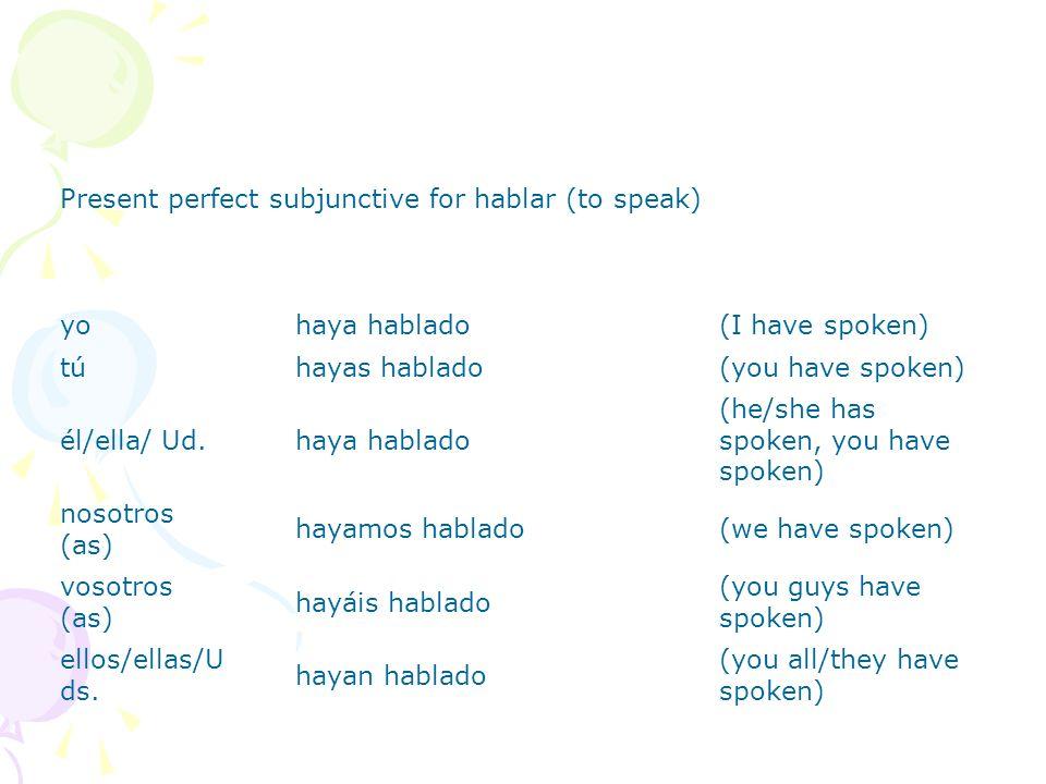 El Presente Perfecto Subjuntivo Formación present subjunctive of haber + past participle = present perfect subjunctive yohaya túhayas él/ella/ Ud. hay