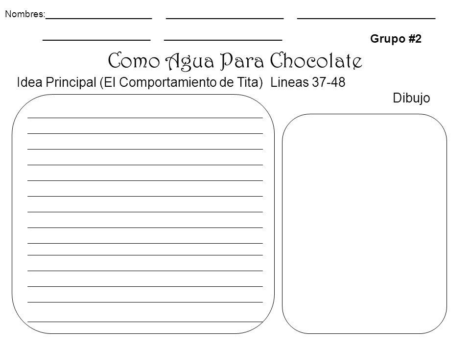 Como Agua Para Chocolate Grupo #2 Idea Principal (El Comportamiento de Tita) Lineas 37-48 Dibujo Nombres:_____________________ _______________________ ___________________________ _____________________ _______________________