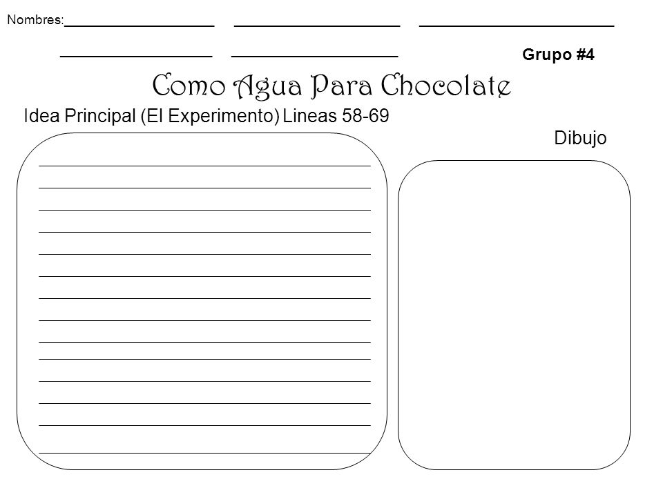 Como Agua Para Chocolate Grupo #4 Dibujo Nombres:_____________________ _______________________ ___________________________ _____________________ _______________________ Idea Principal (El Experimento) Lineas 58-69