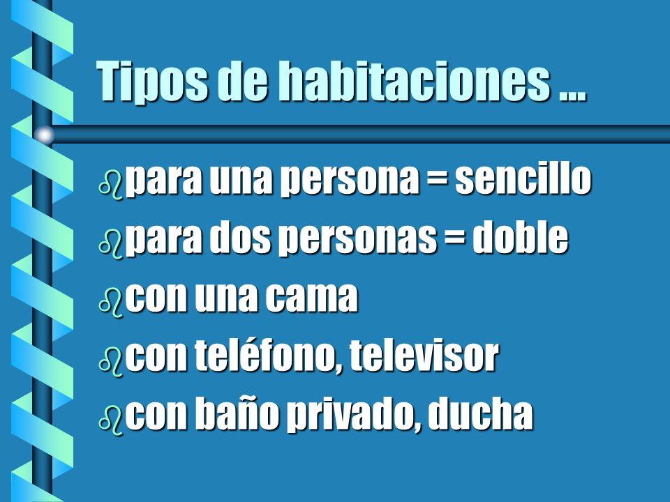 Tipos de habitaciones... b para una persona = sencillo b para dos personas = doble b con una cama b con teléfono, televisor b con baño privado, ducha