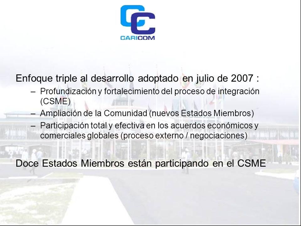 Enfoque triple al desarrollo adoptado en julio de 2007 : –Profundización y fortalecimiento del proceso de integración (CSME) –Ampliación de la Comunidad (nuevos Estados Miembros) –Participación total y efectiva en los acuerdos económicos y comerciales globales (proceso externo / negociaciones) Doce Estados Miembros están participando en el CSME
