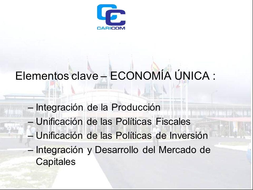 Elementos clave – ECONOMÍA ÚNICA : –Integración de la Producción –Unificación de las Políticas Fiscales –Unificación de las Políticas de Inversión –Integración y Desarrollo del Mercado de Capitales