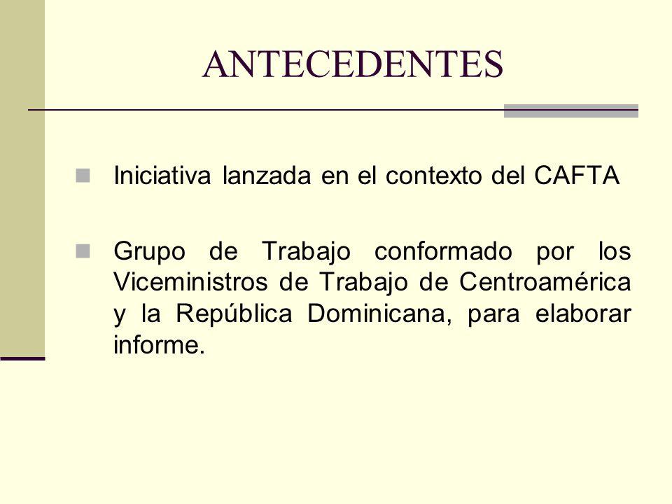 ANTECEDENTES Iniciativa lanzada en el contexto del CAFTA Grupo de Trabajo conformado por los Viceministros de Trabajo de Centroamérica y la República