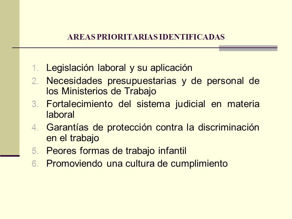 AREAS PRIORITARIAS IDENTIFICADAS 1. Legislación laboral y su aplicación 2. Necesidades presupuestarias y de personal de los Ministerios de Trabajo 3.