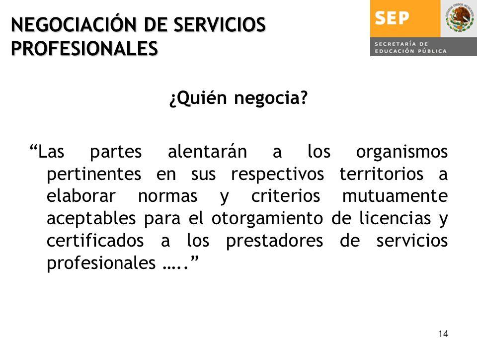 14 NEGOCIACIÓN DE SERVICIOS PROFESIONALES ¿Quién negocia.