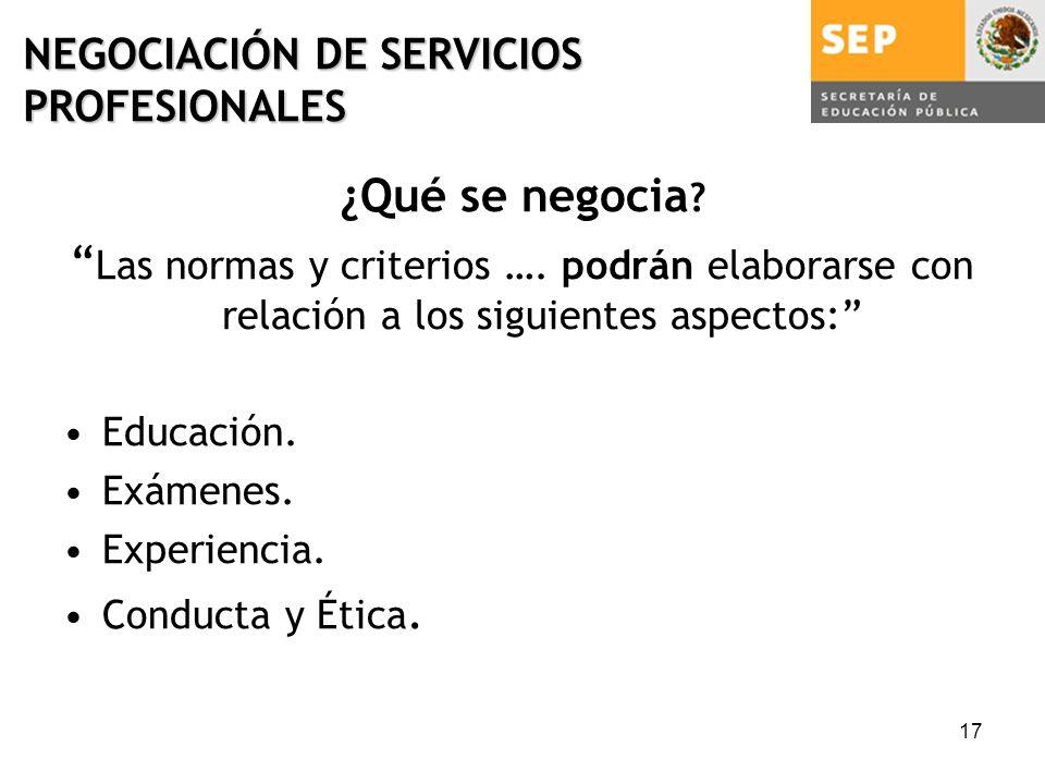 17 NEGOCIACIÓN DE SERVICIOS PROFESIONALES ¿Qué se negocia .