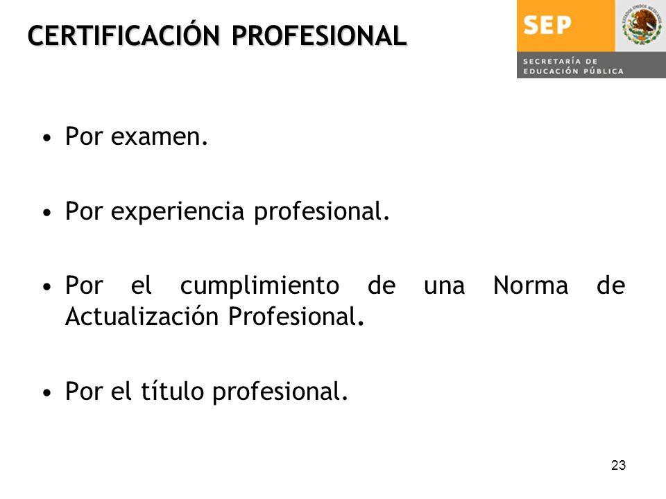 23 CERTIFICACIÓN PROFESIONAL Por examen. Por experiencia profesional.