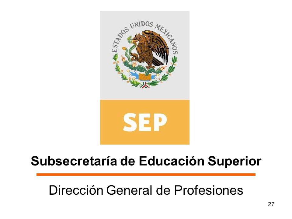 27 Subsecretaría de Educación Superior Dirección General de Profesiones