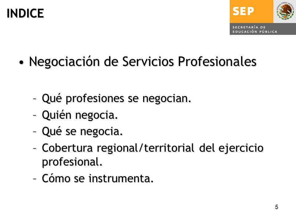 5 INDICE Negociación de Servicios ProfesionalesNegociación de Servicios Profesionales –Qué profesiones se negocian.