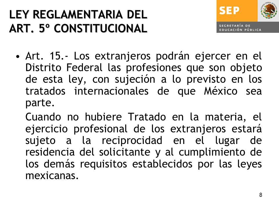 8 LEY REGLAMENTARIA DEL ART. 5º CONSTITUCIONAL Art.