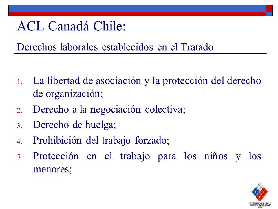 ACL Canadá Chile: Derechos laborales establecidos en el Tratado 1. La libertad de asociación y la protección del derecho de organización; 2. Derecho a