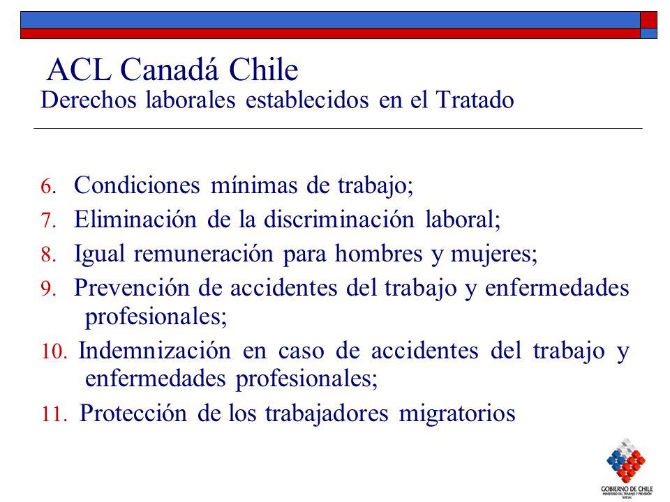 Derechos laborales establecidos en el Tratado 6. Condiciones mínimas de trabajo; 7. Eliminación de la discriminación laboral; 8. Igual remuneración pa