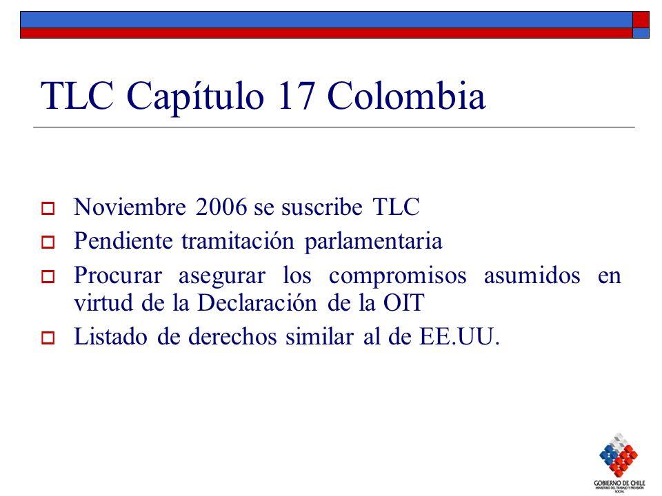 TLC Capítulo 17 Colombia Noviembre 2006 se suscribe TLC Pendiente tramitación parlamentaria Procurar asegurar los compromisos asumidos en virtud de la
