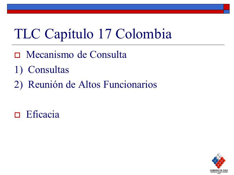 TLC Capítulo 17 Colombia Mecanismo de Consulta 1) Consultas 2) Reunión de Altos Funcionarios Eficacia