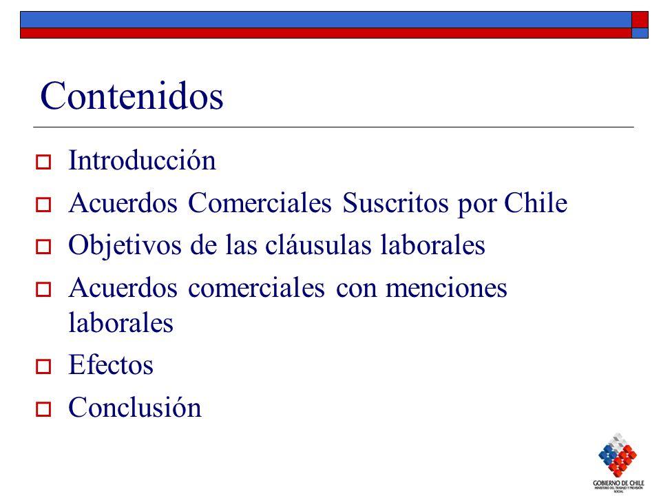 Contenidos Introducción Acuerdos Comerciales Suscritos por Chile Objetivos de las cláusulas laborales Acuerdos comerciales con menciones laborales Efe