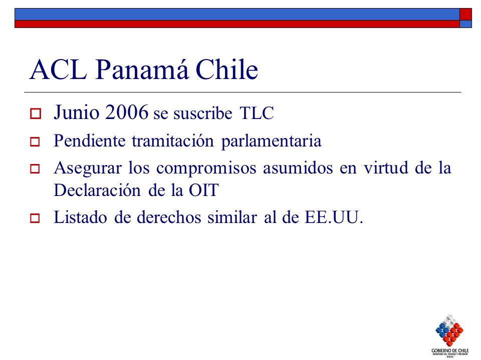 ACL Panamá Chile Junio 2006 se suscribe TLC Pendiente tramitación parlamentaria Asegurar los compromisos asumidos en virtud de la Declaración de la OI