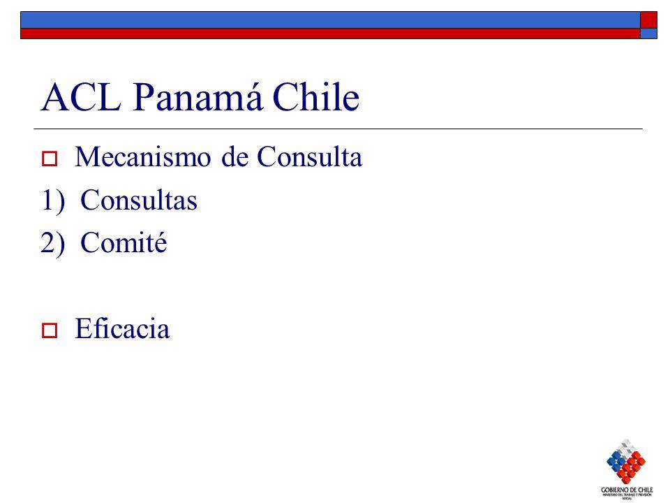 ACL Panamá Chile Mecanismo de Consulta 1) Consultas 2) Comité Eficacia