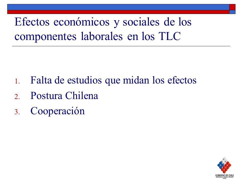 Efectos económicos y sociales de los componentes laborales en los TLC 1. Falta de estudios que midan los efectos 2. Postura Chilena 3. Cooperación