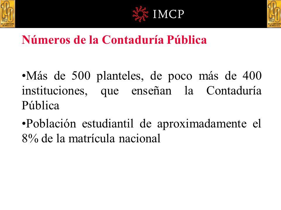 Números de la Contaduría Pública Más de 500 planteles, de poco más de 400 instituciones, que enseñan la Contaduría Pública Población estudiantil de ap