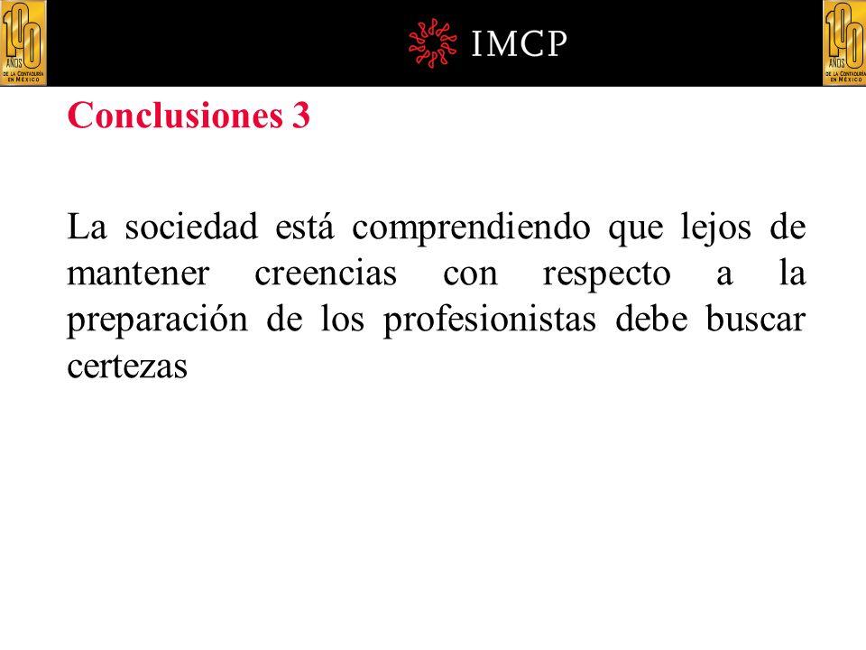 Conclusiones 3 La sociedad está comprendiendo que lejos de mantener creencias con respecto a la preparación de los profesionistas debe buscar certezas