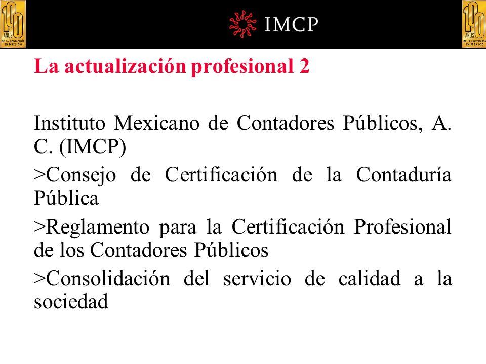 La actualización profesional 2 Instituto Mexicano de Contadores Públicos, A. C. (IMCP) >Consejo de Certificación de la Contaduría Pública >Reglamento