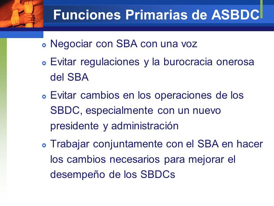 Funciones Primarias de ASBDC Negociar con SBA con una voz Evitar regulaciones y la burocracia onerosa del SBA Evitar cambios en los operaciones de los