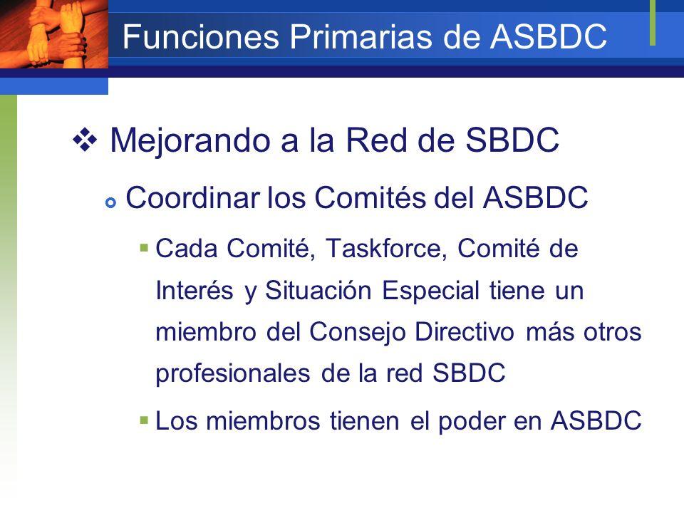 Funciones Primarias de ASBDC Mejorando a la Red de SBDC Coordinar los Comités del ASBDC Cada Comité, Taskforce, Comité de Interés y Situación Especial