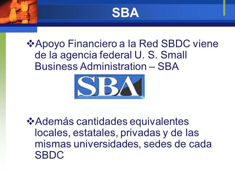 SBA Apoyo Financiero a la Red SBDC viene de la agencia federal U. S. Small Business Administration – SBA Además cantidades equivalentes locales, estat