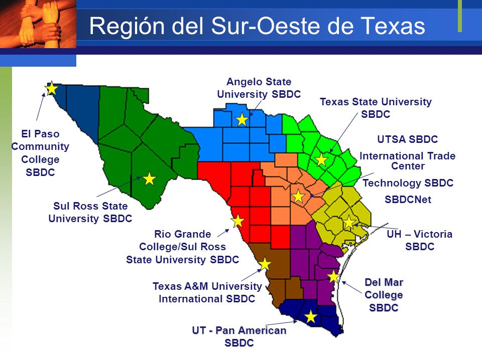 Región del Sur-Oeste de Texas SBA Distrito Estado Texas SBDC Estatal Necesidades de la Sede Universitaria – UTSA: Promover UTSA en la comunidad empresarial con los servicios SBDC Crear impacto económico Usar practicantes de UTSA para ayudar a las PYMES Colaborar con los profesores UTSA nos dará: Infraestructura – oficinas, red de computadoras, manejar los fondos, estabilidad Sede Universidad