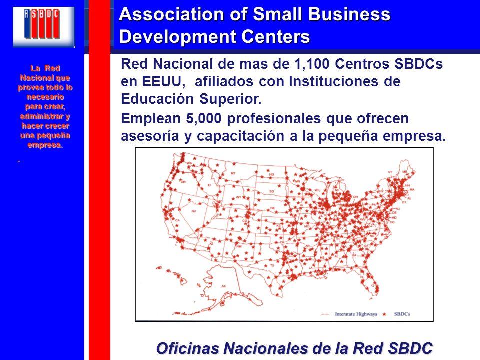 Red Nacional de mas de 1,100 Centros SBDCs en EEUU, afiliados con Instituciones de Educación Superior. Emplean 5,000 profesionales que ofrecen asesorí