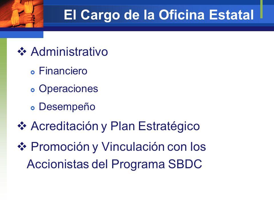 El Cargo de la Oficina Estatal Administrativo Financiero Operaciones Desempeño Acreditación y Plan Estratégico Promoción y Vinculación con los Accioni