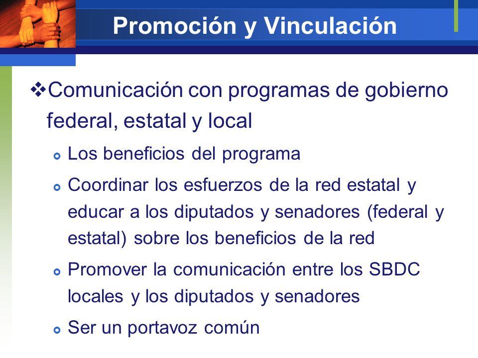 Promoción y Vinculación Comunicación con programas de gobierno federal, estatal y local Los beneficios del programa Coordinar los esfuerzos de la red