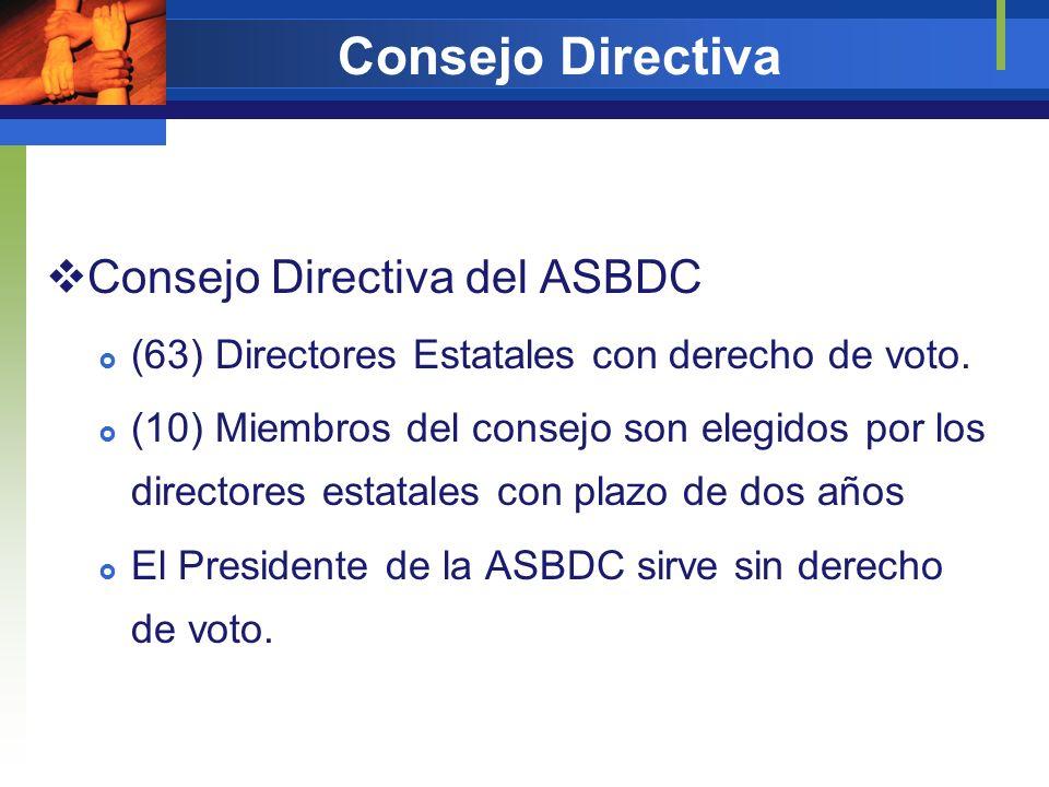 Consejo Directiva Consejo Directiva del ASBDC (63) Directores Estatales con derecho de voto. (10) Miembros del consejo son elegidos por los directores