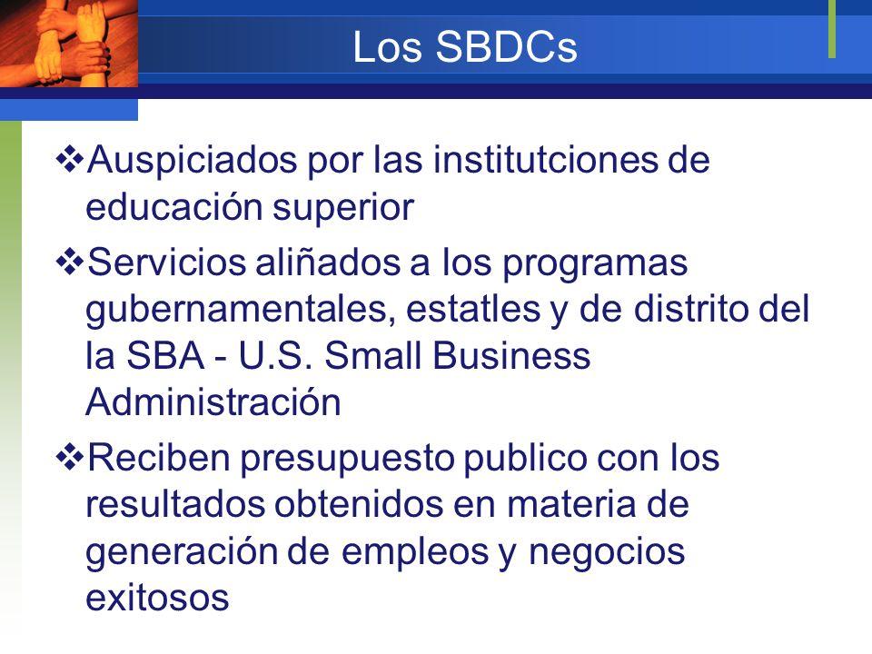 Los SBDCs Auspiciados por las institutciones de educación superior Servicios aliñados a los programas gubernamentales, estatles y de distrito del la S