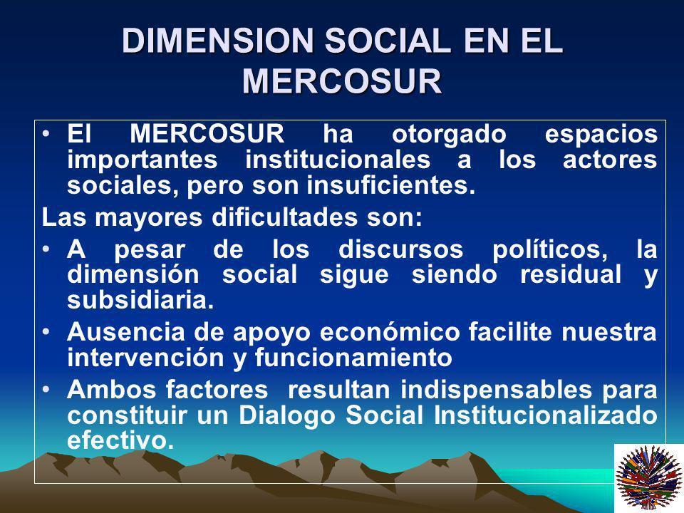 DIMENSION SOCIAL EN EL MERCOSUR El MERCOSUR ha otorgado espacios importantes institucionales a los actores sociales, pero son insuficientes. Las mayor