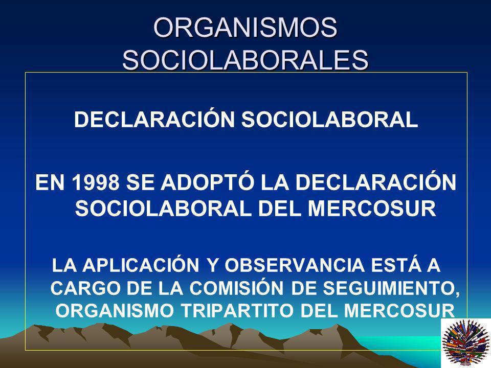 ORGANISMOS SOCIOLABORALES DECLARACIÓN SOCIOLABORAL EN 1998 SE ADOPTÓ LA DECLARACIÓN SOCIOLABORAL DEL MERCOSUR LA APLICACIÓN Y OBSERVANCIA ESTÁ A CARGO
