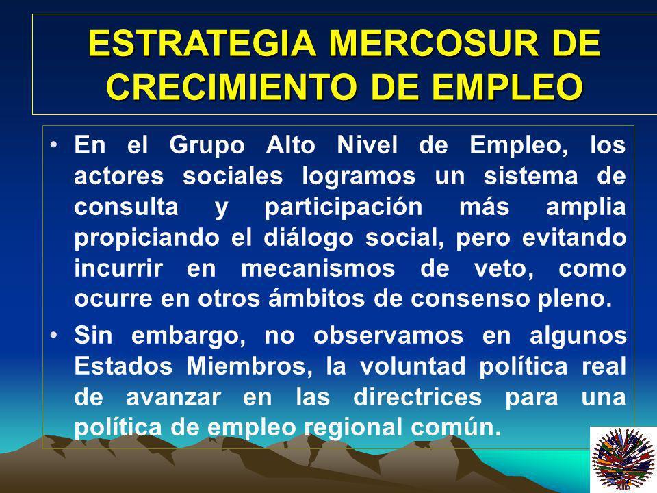 En el Grupo Alto Nivel de Empleo, los actores sociales logramos un sistema de consulta y participación más amplia propiciando el diálogo social, pero