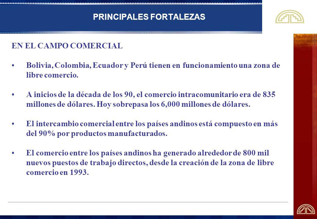 PRINCIPALES FORTALEZAS EN EL CAMPO COMERCIAL Bolivia, Colombia, Ecuador y Perú tienen en funcionamiento una zona de libre comercio. A inicios de la dé