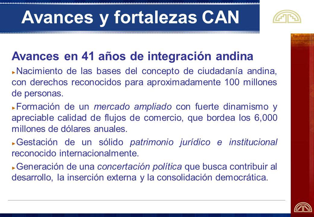 Avances y fortalezas CAN Avances en 41 años de integración andina Nacimiento de las bases del concepto de ciudadanía andina, con derechos reconocidos