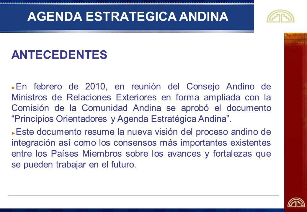 AGENDA ESTRATEGICA ANDINA ANTECEDENTES En febrero de 2010, en reunión del Consejo Andino de Ministros de Relaciones Exteriores en forma ampliada con l