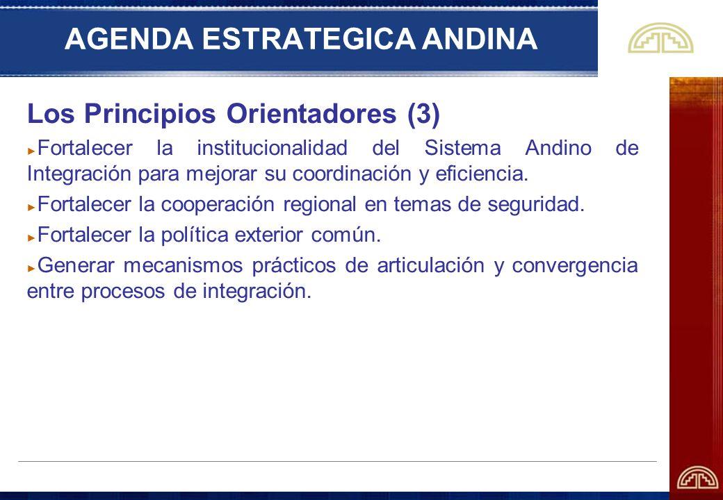 AGENDA ESTRATEGICA ANDINA Los Principios Orientadores (3) Fortalecer la institucionalidad del Sistema Andino de Integración para mejorar su coordinaci
