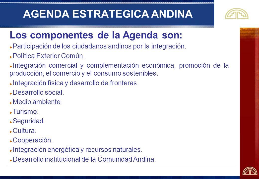 AGENDA ESTRATEGICA ANDINA Los componentes de la Agenda son: Participación de los ciudadanos andinos por la integración. Política Exterior Común. Integ