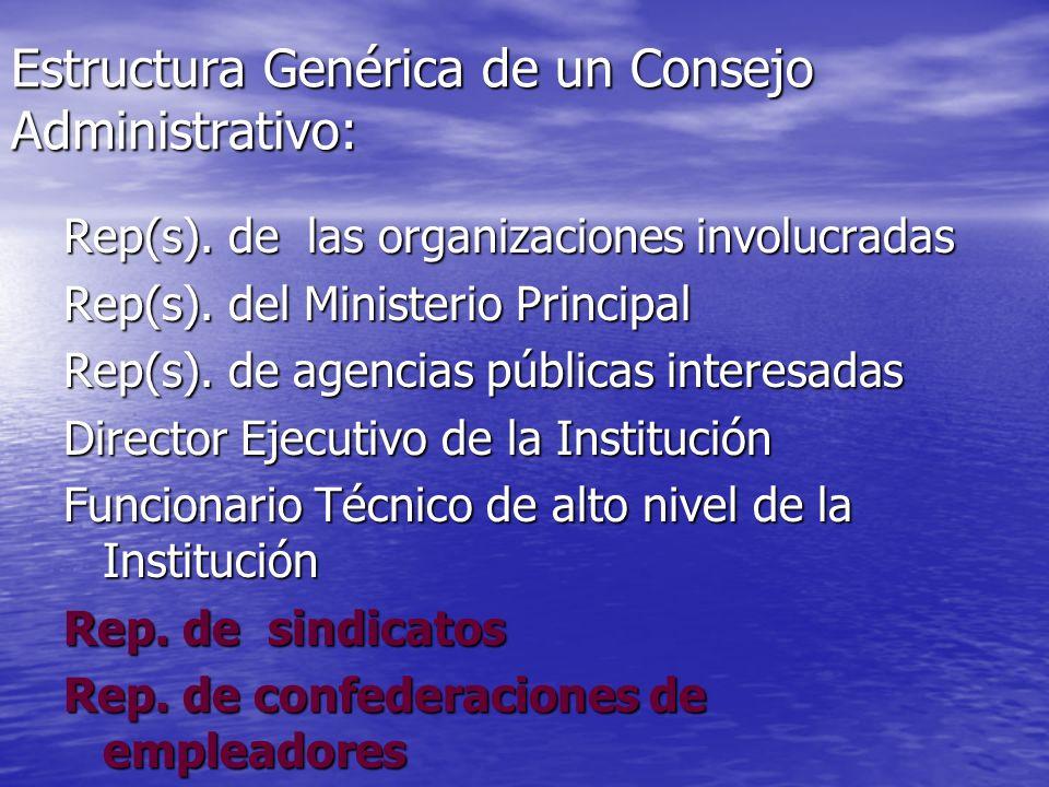 Estructura Genérica de un Consejo Administrativo: Rep(s). de las organizaciones involucradas Rep(s). del Ministerio Principal Rep(s). de agencias públ